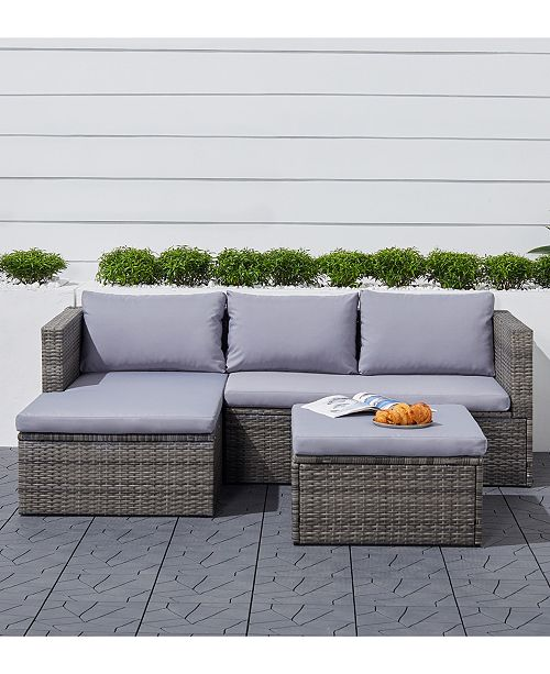 Daytona 3 Piece Retro Outdoor Cushioned Wicker Corner Sofa With Footstool