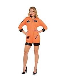 Women's Astronaut Orange Jumpsuit Adult Costume