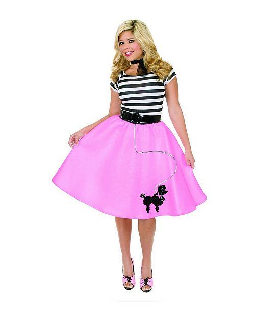BuySeasons Women's Poodle Skirt Fuscia Plus Adult Costume