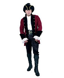 Men's Velvet Pirate Prince Red Jacket Plus Adult Costume