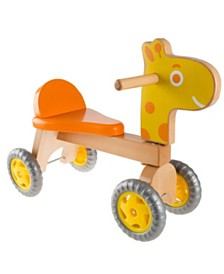 Happy Trails Walk and Ride Wooden Giraffe-Balance Bike for Toddlers