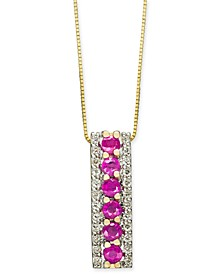 "Certified Ruby (7/8 ct. t.w.) & Diamond (1/4 ct. t.w.) 18"" Pendant Necklace in 14k Gold"
