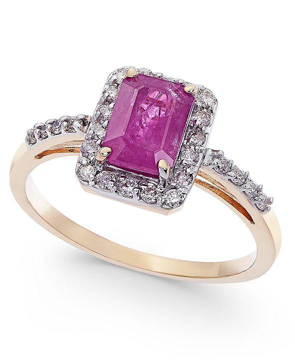 Macy's Certified Ruby (1-1/3 ct. t.w.) & Diamond (1/4 ct. t.w.) Ring in 14k Gold