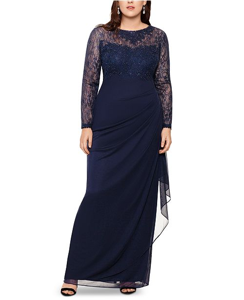 XSCAPE Plus Size Embroidered & Beaded Long-Sleeve Gown