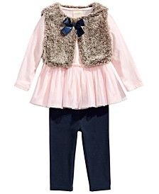 Baby Girls 3-Pc. Tunic, Leggings & Faux-Fur Vest Set, Created For Macy's