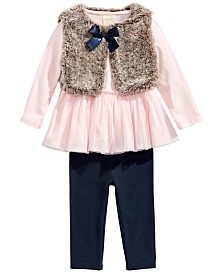 First Impressions Baby Girls 3-Pc. Tunic, Leggings & Faux-Fur Vest Set, Created For Macy's
