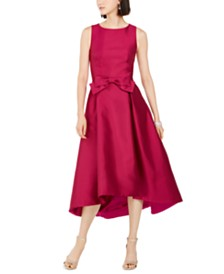 Tahari ASL Mikado Satin Bow Dress