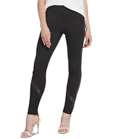 DKNY Pull-On Faux-Leather Trim Pants