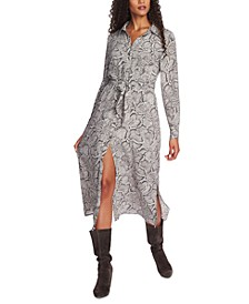 Snake-Print Maxi Shirtdress