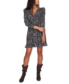 1.STATE Ruffled Snake-Print Dress