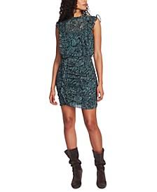 Ruched Ruffled Snake-Print Dress