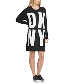 Cotton Block-Letter Logo Dress