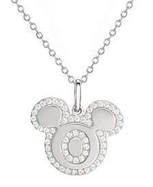 """Mickey Mouse Cubic Zirconia Initial Pendant 18"""" Necklace in Sterling Silver"""