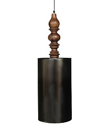 Lumi Cylindrical Shade Solid Wood Hand Carved Shade Holder in Retro Zinc Rich Look Vintage-Inspired Finish 25 Watt