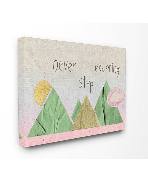 """Stupell Industries Never Stop Exploring Mountain Collage Pink Canvas Wall Art, 16"""" x 20"""""""