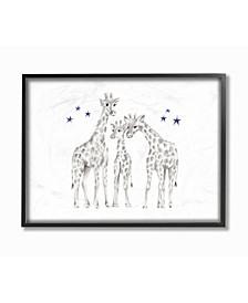 """Giraffe Family Graphite Drawing Framed Giclee Art, 11"""" x 14"""""""