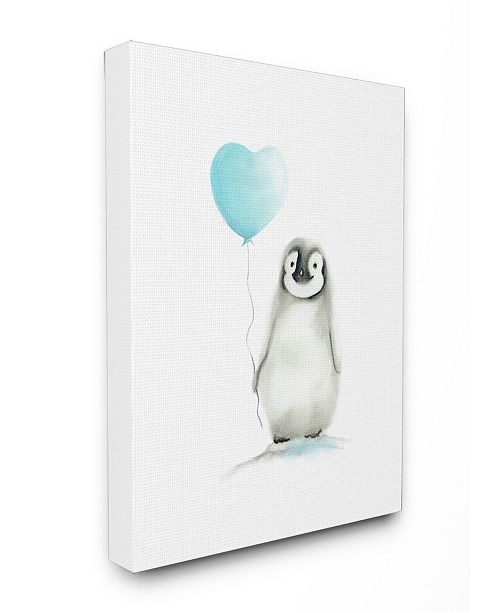 """Stupell Industries Baby Penguin with Blue Balloon Canvas Wall Art, 30"""" x 40"""""""