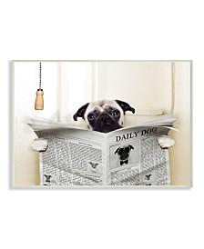 "Stupell Industries Pug Reading Newspaper in Bathroom Wall Plaque Art, 10"" x 15"""