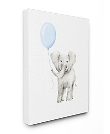 """Stupell Industries Baby Elephant with Blue Balloon Watercolor Canvas Wall Art, 24"""" x 30"""""""