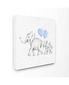 "Elephant Family Blue Balloon Linen Look Canvas Wall Art, 17"" x 17"""