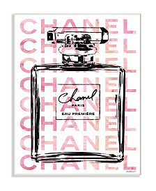 "Stupell Industries Glam Perfume Bottle with Words Pink Black Wall Plaque Art, 10"" x 15"""