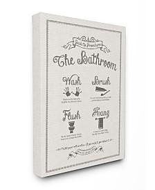 "Stupell Industries Guide To Bathroom Procedures Linen Look Canvas Wall Art, 16"" x 20"""