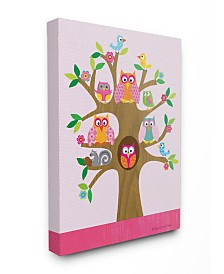 """Stupell Industries The Kids Room Owls, Birds and Squirrel in A Tree Canvas Wall Art, 16"""" x 20"""""""