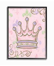 "The Kids Room Crown with Fleur de Lis on Pink Background Framed Giclee Art, 11"" x 14"""