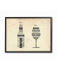 """Home Decor His and Hers Wine and Beer Kitchen Framed Giclee Art, 11"""" x 14"""""""