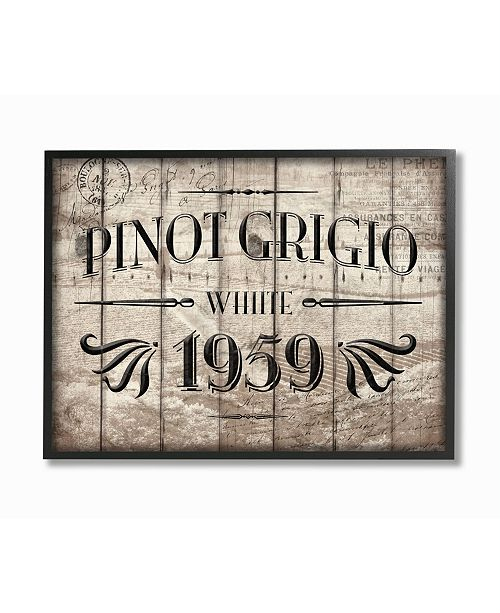"Stupell Industries Home Decor Pinot Grigio Barrel Label Wine Kitchen Framed Giclee Art, 11"" x 14"""