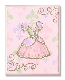 "The Kids Room Princess Dress with Fleur de Lis on Pink Background Wall Plaque Art, 12.5"" x 18.5"""