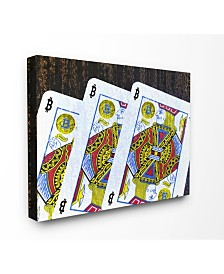 """Stupell Industries Bitcoin on Playing Cards Canvas Wall Art, 16"""" x 20"""""""