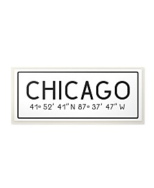 "Stupell Industries Plate City Coordinates Chicago Wall Plaque Art, 7"" x 17"""