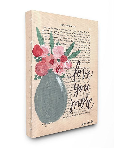 """Stupell Industries Love You More Painterly Book Page Canvas Wall Art, 30"""" x 40"""""""