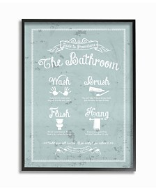 """Stupell Industries Guide To Procedures Bathroom Blue Framed Giclee Art, 16"""" x 20"""""""