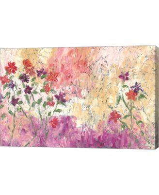 "PURPLE FLORAL BOX CANVAS ARTWORK FLOWER PAINTING 34x20/"""