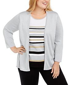 Plus Size Classics Layered-Look Metallic Sweater
