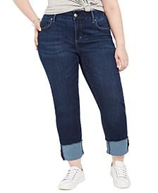 Seven7 Plus Size Tummyless Cuffed Skimmer Jeans
