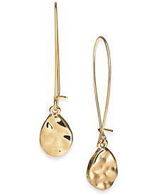 Gold-Tone Hammered Sculptural Linear Drop Earrings, Created For Macy's