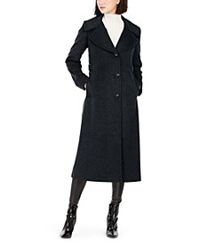 Petite Notch-Collar Maxi Coat