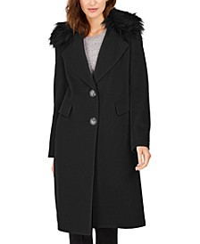 Petite Single-Breasted Faux-Fur Walker Coat