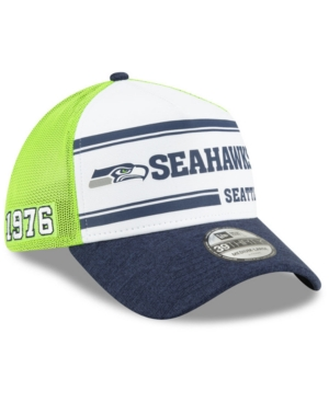 New Era Seattle Seahawks On-field Sideline Home 39thirty Cap In White/navy/lime