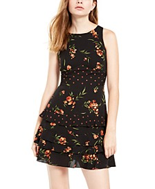 Juniors' Mixed-Print Ruffled Dress