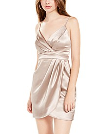 Juniors' Satin Faux-Wrap Dress