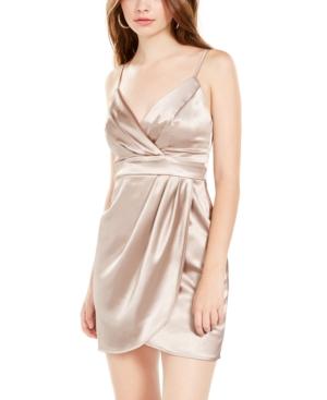 Teeze Me Juniors' Satin Faux-Wrap Dress