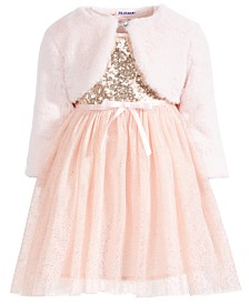 Blueberri Boulevard Toddler Girls 2-Pc. Sequined Glitter Dress & Faux-Fur Shrug Set