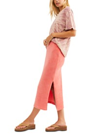 Free People Helen Ribbed Tube Midi Skirt