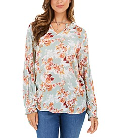 Printed Ruffled-Cuff Top, Created For Macy's