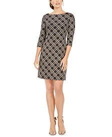 Plaid Metallic Sheath Dress
