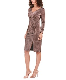 Petite Metallic Animal-Print Sheath Dress